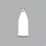 Realistic Transparent Glass Bottle with a Milk. stock illustration