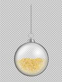 Realistic transparent glass Christmas ball. New year toy with go stock illustration