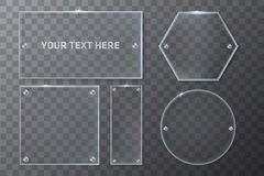 Realistic Transparent Glass Geometry Frames Template Royalty Free Stock Photo