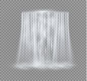 Realistic Transparent, Nature, stream of waterfall with clear water and bubbles isolated on transparent background. Natural element for design landscape image royalty free illustration