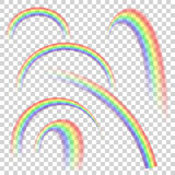 Realistic transparent rainbow set in different shapes. Vector background. Royalty Free Stock Photography