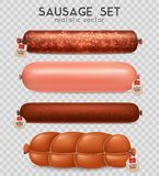 Realistic Transparent Sausage Set. With cooked and salami sausage  vector illustration Stock Image