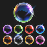 Realistic transparent soap bubbles Stock Photography