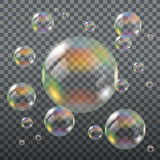 Realistic Transparent Soap Bubbles. With Rainbow Reflection. EPS10 Royalty Free Stock Images