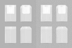 Realistic transparent vector mock up tea bag royalty free illustration