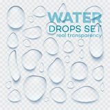 Realistic  transparent water drops set . Vector illustration Royalty Free Stock Photo