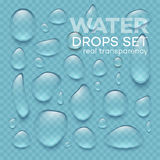 Realistic  transparent water drops set . Vector illustration Stock Images