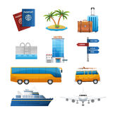 Realistic travel tourism icons set vector Royalty Free Stock Photo