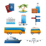 Realistic travel tourism icons set vector Stock Image
