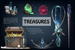 Realistic Treasures Colorful Composition stock photo