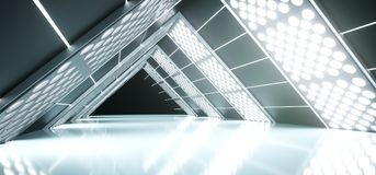 Realistic Triangle Sci-Fi Corridor With Lighted Grid Mesh. 3D Rendering Of Abstract Realistic Triangle Sci-Fi Corridor With Lighted Grid Mesh Stock Image