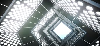 Realistic Triangle Sci-Fi Corridor With Lighted Grid Mesh. 3D Rendering Of Abstract Realistic Triangle Sci-Fi Corridor With Lighted Grid Mesh Stock Photo
