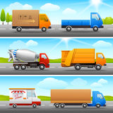 Realistic truck icons on road Stock Image
