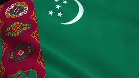 Realistic Turkmenistan flag stock footage