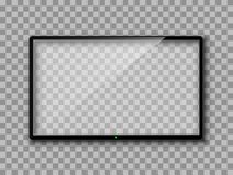 Realistic TV screen. Empty TV frame transparent background. Modern stylish lcd monitor, led type. Blank television template. – for stock vector illustration