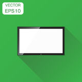 Realistic tv screen icon. Business concept television pictogram. Vector illustration on green background with long shadow stock illustration