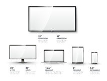 Realistic TV screen, Lcd monitor, laptop, tablet royalty free illustration