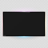Realistic tv screen template with backlight ambient lighting. Vector illustration of realistic tv screen template with backlight ambient lighting and empty vector illustration