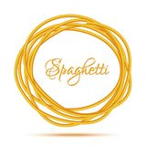 Realistic Twisted Spaghetti Pasta Circle Frame Royalty Free Stock Photo