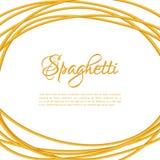 Realistic Twisted Spaghetti Pasta Circle Frame Stock Photos