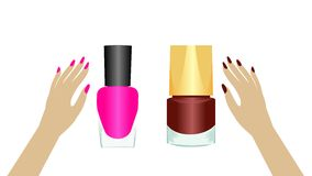 Realistic two nail polishes Royalty Free Stock Photography