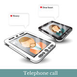Realistic two phones and flat icons couple in love with dialog speech bubbles Stock Images
