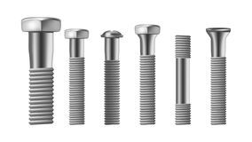 Realistic Types Of Steel Brass Bolt Set Vector. Assortment Of Different Metallic Bolt, Screw And Rivet. Iron Construction Elements. Side View Isolated Detail royalty free illustration