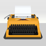 Realistic typewriter with sheet of paper -  on grey Stock Images