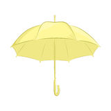 Realistic umbrella. Female or male accessory. The yellow object isolated on white background. Vector illustration in. Hand drawing style for your design. EPS10 Stock Photo