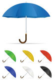 Realistic umbrella in seven colors Stock Photos