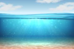 Realistic underwater background. Ocean deep water, sea under water level, sun rays blue wave horizon. Surface 3D vector