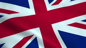 Realistic United Kingdom flag. Waving in the wind. Seamless looping stock video