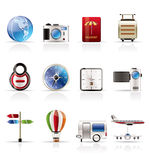Realistic, Vacation, Holiday and Travel Icons stock illustration