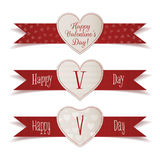 Realistic Valentines Day Banners with Ribbons Set Royalty Free Stock Photography