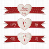 Realistic Valentines Day Emblems with Ribbons Set. Realistic Valentines Day vector Heart Emblems with red Ribbons Set on textile white Background Royalty Free Stock Photography