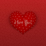 Realistic Valentines Day Heart on red Background Stock Photo