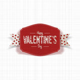 Realistic Valentines Day red Card with Ribbon Stock Photography