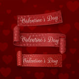 Realistic Valentines Day red scroll Ribbons Set. On dark Red Background Royalty Free Stock Images