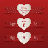 Realistic Valentines Day vector Heart Labels Set Royalty Free Stock Image
