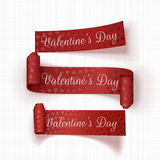 Realistic Valentines Day vector red Ribbons Set. On white Textile Background Stock Images