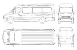 Realistic Van template in outline. Isolated passenger mini bus for corporate identity and advertising. View from side, front, back and top. Vector illustration stock illustration