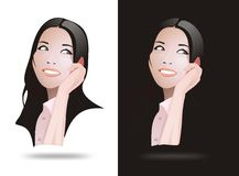 Realistic vector asia women. White and black of realistic vector asia women Royalty Free Stock Images