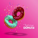 Realistic vector banner for cafe and confectionery. Two tasty chocolate and azure donuts, sprinkles falling from top in 3d royalty free illustration