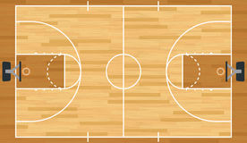 Realistic Vector Basketball Court. A realistic vector hardwood textured basketball court. EPS 10. File contains transparencies Stock Image