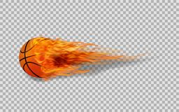 Realistic vector basketball in fire on transparent background. The Realistic vector basketball in fire on transparent background and illustration Royalty Free Stock Photos