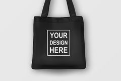 Realistic vector black empty textile tote bag. Closeup  on white background. Design template for branding Royalty Free Stock Images