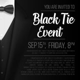 Realistic Vector Black Suit. Black Tie Event Invitation Template. Vector Mens Suit with Bow Tie. Illustration of Realistic Vector Black Suit. Black Tie Event Stock Image