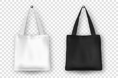 Realistic vector black and white empty textile tote bag icon set. Closeup  on white background. Design templates Royalty Free Stock Images