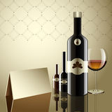 Realistic vector bottles. glass and reflection luxury style. Royalty Free Stock Images