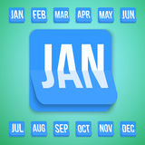 Realistic Vector Calendar Icon made in Trendy Flat Style. Set of. Illustration of Realistic Vector Calendar Icon made in Trendy Flat Style. Set of Every Month of Stock Images